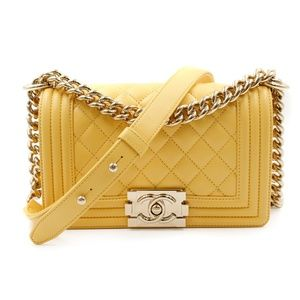 Chanel Yellow Quilted Lambskin Small Boy Flap Bag